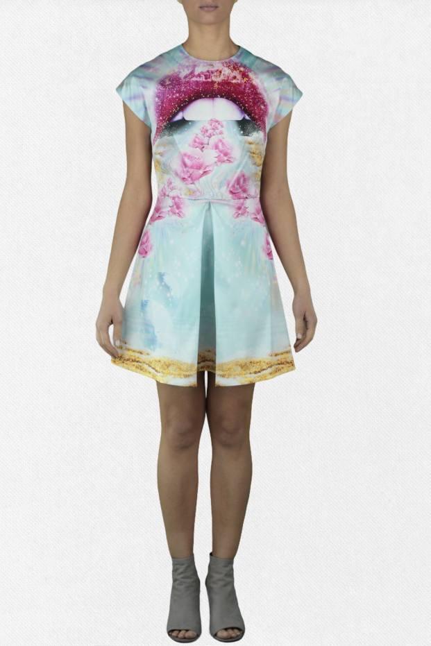 Short Dress Satin Printed...