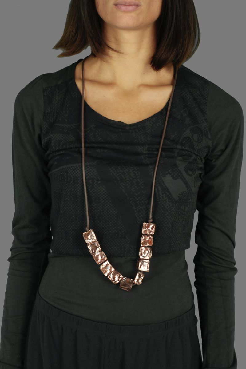 Cube Bronze Necklace
